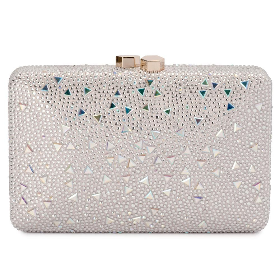 683aaf7073 Olga Berg Krystelle Sparkle Clutch evening bag in Silver colourway showing  front view