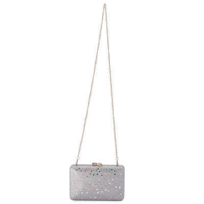 Olga Berg Krystelle Sparkle Clutch evening bag in Silver colourway showing shoulder chain