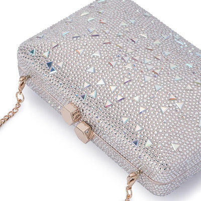 Olga Berg Krystelle Sparkle Clutch evening bag in Silver colourway showing detailed close up