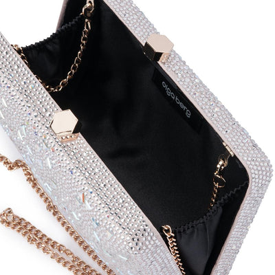 Olga Berg Krystelle Sparkle Clutch evening bag in Silver colourway showing internal view
