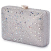 Olga Berg Krystelle Sparkle Clutch evening bag in Silver colourway showing side view