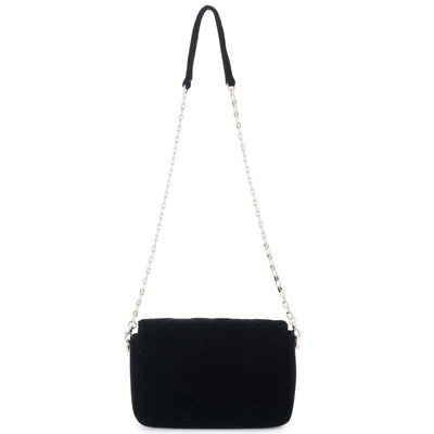 Olga Berg Hope Velvet Shoulder Bag evening bag in Black colourway showing back view