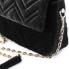 Olga Berg Hope Velvet Shoulder Bag evening bag in Black colourway showing detailed close up