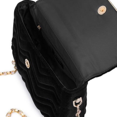 Olga Berg Hope Velvet Shoulder Bag evening bag in Black colourway showing internal view