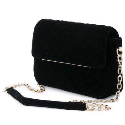 Olga Berg Hope Velvet Shoulder Bag evening bag in Black colourway showing side view