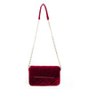 Olga Berg Hope Velvet Shoulder Bag evening bag in Burgundy colourway showing front view