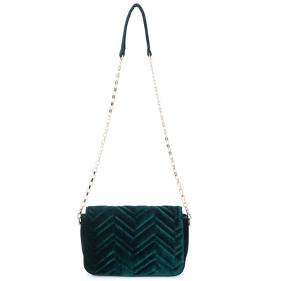 Olga Berg Hope Velvet Shoulder Bag evening bag in Emerald colourway showing back view
