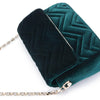 Olga Berg Hope Velvet Shoulder Bag evening bag in Emerald colourway showing detailed close up