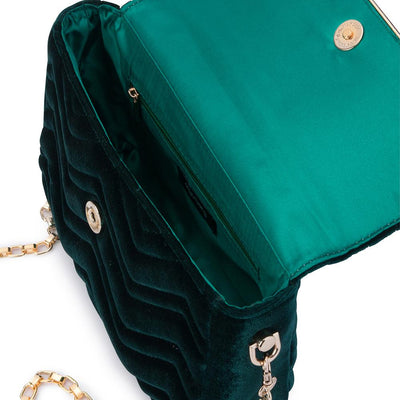 Olga Berg Hope Velvet Shoulder Bag evening bag in Emerald colourway showing internal view
