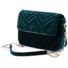 Olga Berg Hope Velvet Shoulder Bag evening bag in Emerald colourway showing side view
