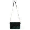 Olga Berg Hope Velvet Shoulder Bag evening bag in Emerald colourway showing front view