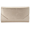 Olga Berg Emma Metallic Clutch evening bag in Gold colourway showing front view