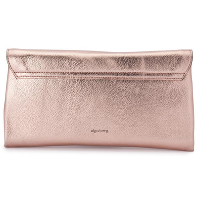 Olga Berg Emma Metallic Clutch evening bag in Rose Gold colourway showing back view