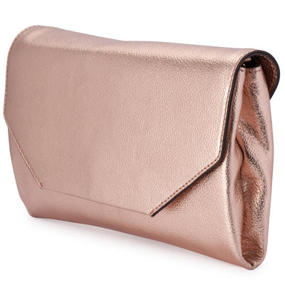 Olga Berg Emma Metallic Clutch evening bag in Rose Gold colourway showing side view
