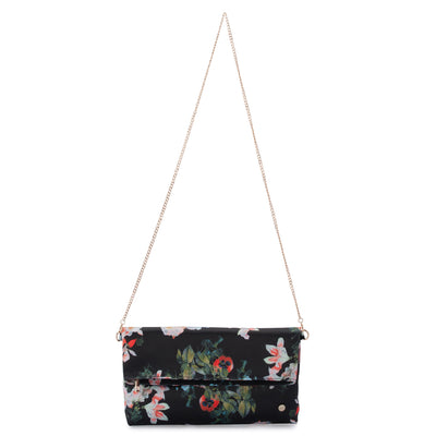 Olga Berg Olivia Black Printed Foldover Clutch Chain View