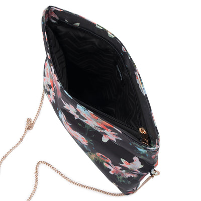 Olga Berg Olivia Black Printed Foldover Clutch Internal View