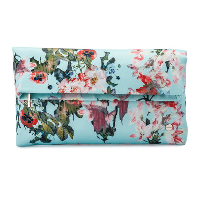 Olga Berg Olivia Blue Printed Foldover Clutch Front View