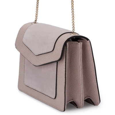 Olga Berg MONTANA Suede and Pebble Shoulder Bag