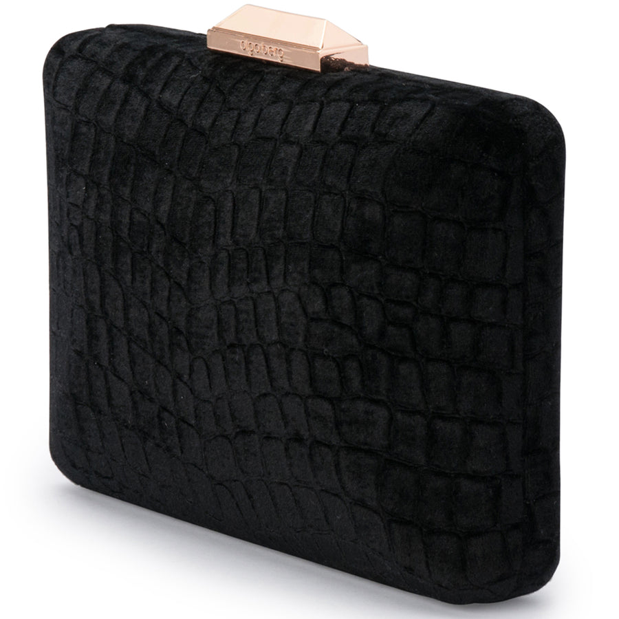 ANNALISE Croc Embossed Velvet Clutch Olga Berg Bag
