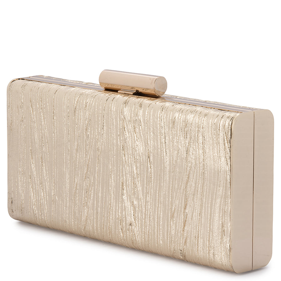 LUCINDA Metallic Gathered Box Clutch