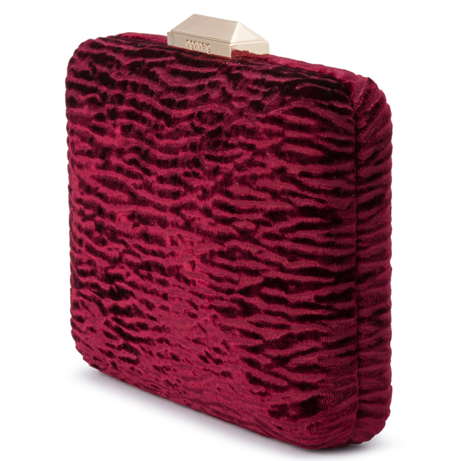 TAMARA Textured Embossed Velvet Clutch
