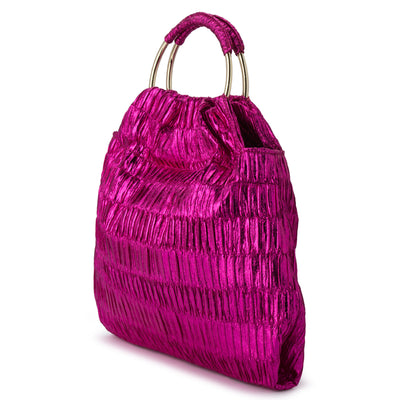 Olga Berg ASTRID Treebark Pleated Ring Handle Bag