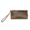 Olga Berg | Shay Mesh Fold Over Wristlet | Bronze | Mesh Bag