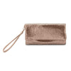 Olga Berg | Shay Mesh Fold Over Wristlet | Rose Gold | Mesh Bag