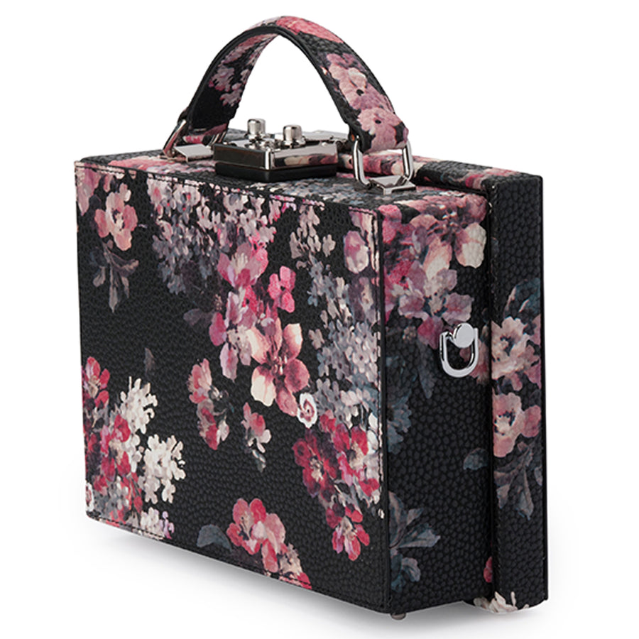 Olga Berg Sylvia Black Floral Handle Bag Front View