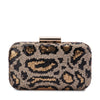 Olga Berg KAELA Leopard Sequin Clutch Bag