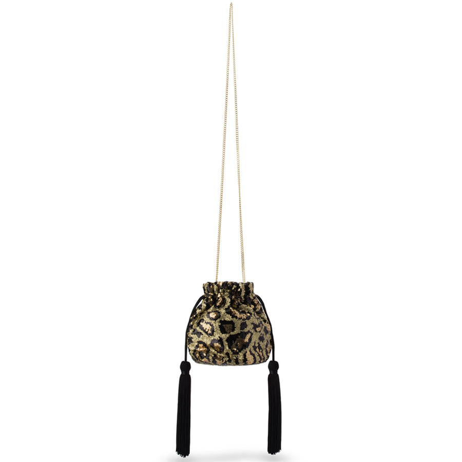 Olga Berg KEZZIE Leopard Sequin Drawstring Pouch