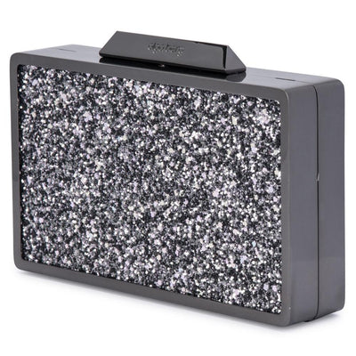 Olga Berg Madi Glitter Box Clutch evening bag in Gunmetal colourway showing side view