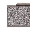 Olga Berg Madi Glitter Box Clutch evening bag in Gunmetal colourway showing detailed close up