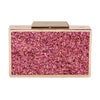 Olga Berg Madi Glitter Box Clutch evening bag in Pink colourway showing front view