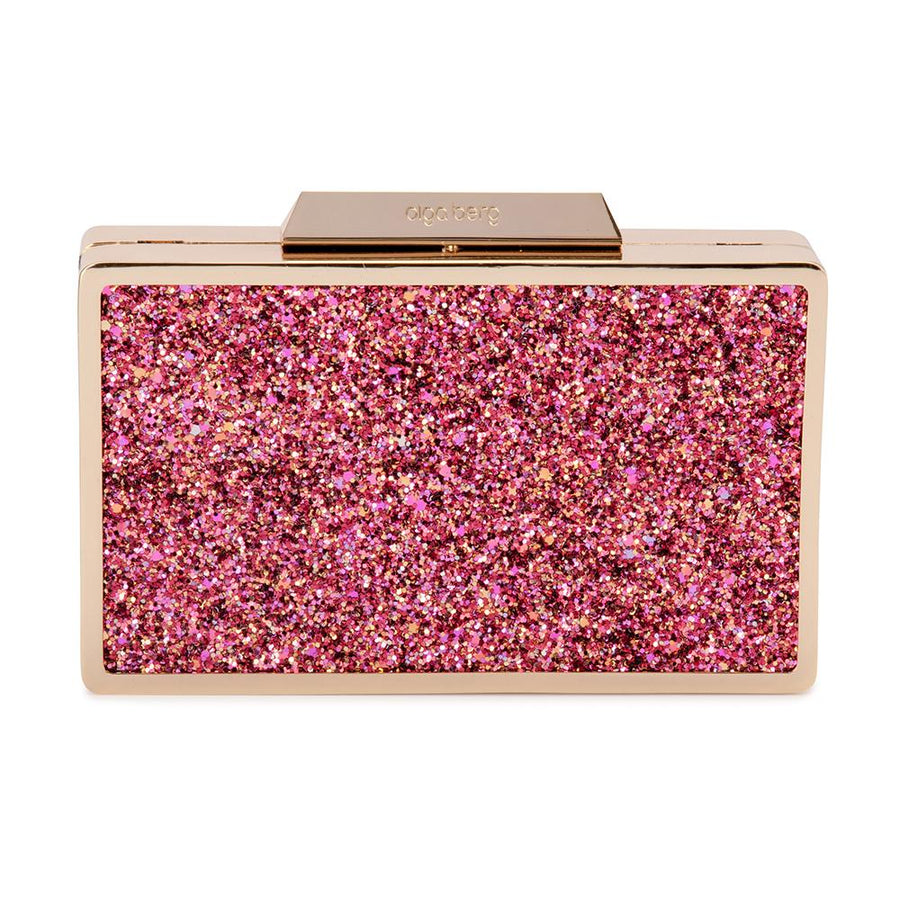 9458934585 Olga Berg Madi Glitter Box Clutch evening bag in Pink colourway showing  front view