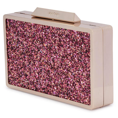 Olga Berg Madi Glitter Box Clutch evening bag in Pink colourway showing side view