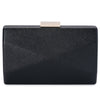 Jade Angular Saffiano Black Clutch Front View