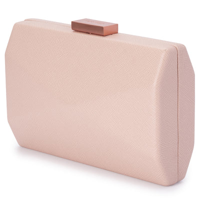 Jade Angular Saffiano Blush Clutch Side View