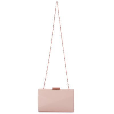 Jade Angular Saffiano Blush Clutch Chain View