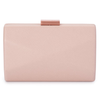 Jade Angular Saffiano Blush Clutch Front View