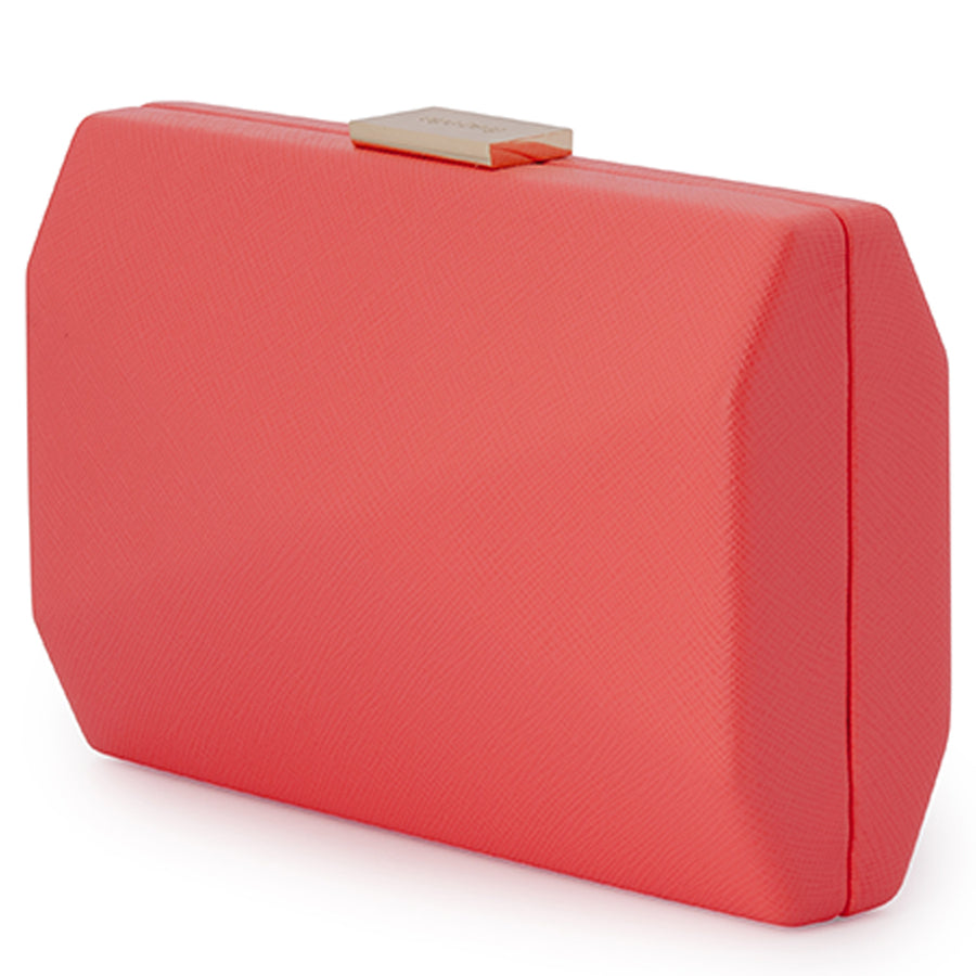 Jade Angular Saffiano Coral Clutch Front View