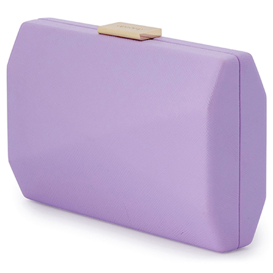 Jade Angular Saffiano Lilac Clutch Front View
