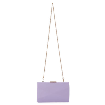 Jade Angular Saffiano Lilac Clutch Chain View