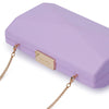 Jade Angular Saffiano Lilac Clutch Detail View
