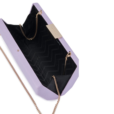 Jade Angular Saffiano Lilac Clutch Internal View