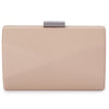 Jade Angular Saffiano Natural Clutch Front View