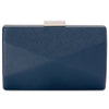 Jade Angular Saffiano Navy Clutch Front View