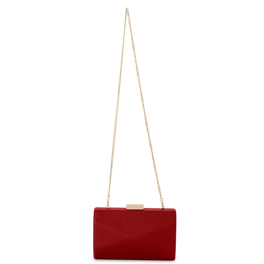 Jade Angular Saffiano Red Clutch Front View