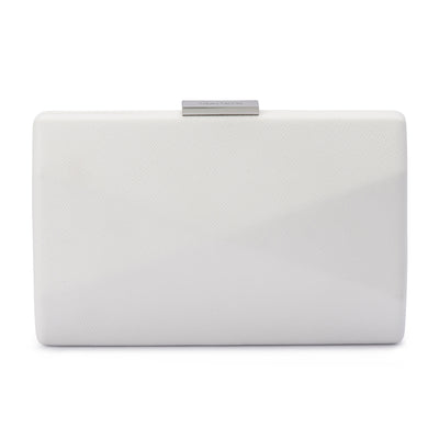 Jade Angular Saffiano White Clutch Front View