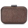 Olga Berg Ally Metallic Clutch evening bag in Bronze colourway showing front view